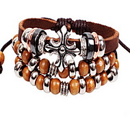 Brown Layered Leather Bracelet