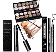 12 Earth Color Nude  Glitter Eyeshadow Palette Cosmetic Makeup Set  Palettes +1PCS Mascara +1pcs Liquid Eyeliner
