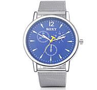 SOXY® Men's Silver Steel Band Black Case Dress Watch Casual Watch