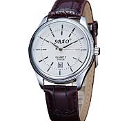 Couple's Fashion Watch Casual Watch Quartz PU Band Black Brown