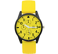 Unisex Fashion Watch Casual Watch Quartz Rubber Band Candy color Black White Blue Pink Yellow