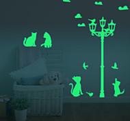 Luminous Diy Cute Home Cat Switch Wall Sticker Night Light Bedroom Fluorescent Wall Sticker