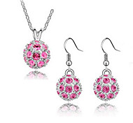 Women's Austrian Fashion Elegant Crystal Necklace Earrings Set