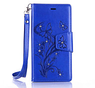 Butterfly Flower Diamond Flip Leather Cases Cover For Huawei P9/P9 Lite/Y3II Strap Wallet Phone Bags