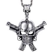 inox crâne d'acier kalen®gothic style punk bijoux pour hommes avec des pistolets doubles collier pendentif