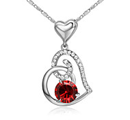 HKTC Lovely Gift Ruby Jewelry 18k White Gold Plated Red Crystal Simulated Diamond Heart to Heart Pendant Necklace