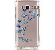 Blue Butterfly Pattern TPU Popular Brands Calling Flash Case Cover For Samsung Galaxy J7 (2016) / J5 (2016) / J1 (2016)