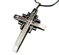 la cruz de la biblia de cuero collar colgante