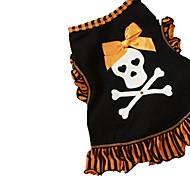 Katzen / Hunde Kostüme / T-shirt / Austattungen Schwarz / Gold Sommer / Frühling/Herbst Schleife / Totenkopf Motiv Cosplay / Halloween
