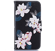 Black Lily Pattern Card Phone Holster for Moto G4/G4 Plus