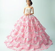 Party/Evening Dresses For Barbie Doll Pink Dresses For Girl's Doll Toy