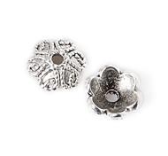 22pcs beadia plata antigua granos de la aleación del casquillo de 9x4mm forma de la flor granos del espaciador