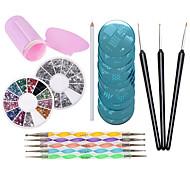 искусства ногтя конструкции комплект 1pcs Stampers и скребки, 10pcs штамповки пластины, 5pcs усеивающие инструменты