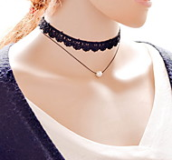 Sexy Cute Punk Black Lace Fabric Tatoo Choker Neckace with Pearl Pendant