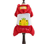 Dog Hoodie Red / Yellow Dog Clothes Winter Cartoon / Animal