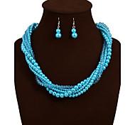 elegantes Verweben Perlenkette Schmuck-Set