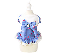 Cat / Dog Dress Black / Blue Summer / Spring/Fall Bowknot / Hearts Fashion, Dog Clothes / Dog Clothing-Pething®