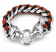 kalen®hot venta de acero inoxidable 316L lobo de plata pulseras de los hombres de cabeza jewerly