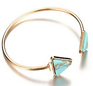 Alloy Green Triagle Natural Stone Gem Adjustable Cuff Bangle Bracelet Jewelry Christmas Gifts