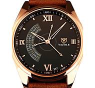 Men's Fashion Quartz Wrist Watch PU Big Round Dial Three Seconds Pointer Display Business Watch Cool Watch Unique Watch