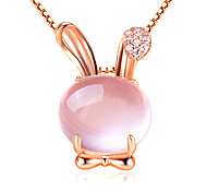 Women's 925 Silver Cute Rabbit Pendant Necklace