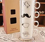 gouttes de pluie rétro tasses à café (quatre tasses en céramique avec plaques de cuisson)