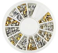 1 палитра различной формы золотого серебряного украшения искусства ногтя