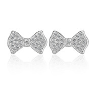 Women's Fashion Bow Shape Diamond Silver Stud Earrings