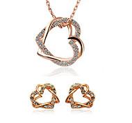 Women's Diamond Entangled Twin Peach Heart Shape Earrings Necklace Set