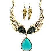 MPL Fashion all-match sweet temperament Diamond Gemstone Angel Wings Necklace Earrings Set