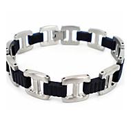 Fashion Men's Silver-black 316L Stainless Steel Chain Bracelets