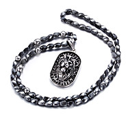 Kalen Excellent Jewelry 316L Stainless Steel Animal Lion Pendant Beads Long Necklaces Men's Sweater Necklaces