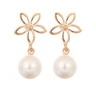 Newest 2016 Korea Jewelry Pearl Drop Earrings 18K Gold Plated Elegant Fashion Flower Earrings for Women Party