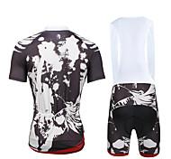 Cycling PaladinSport Men Shirt + Straps Shorts Suit BKT655  Dark Grey Skeletons
