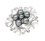 Women's Fashion Gold Silver plated Imitation Pearl Jewelry Brooch Pins Daily/Casual Butterfly Brooches Pins