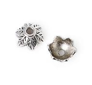 28pcs beadia plata antigua granos de la aleación del casquillo de 8x5mm forma de la flor granos del espaciador
