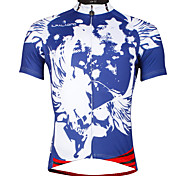 The Existing Paladin Summer Male Short Sleeve Cycling Jerseys 100% Polyester DX654  Blue Skeletons