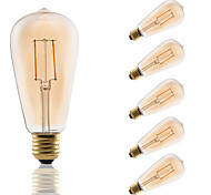 E27 LED Filament Bulbs ST64 COB 180 lm Amber Decorative AC 220-240 V 6 pcs Edison Style Bulb