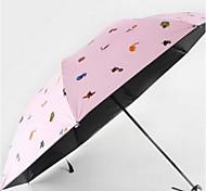 Colori casuali Ombrello pieghevole Soleggiato e Rainy Gomma Lady / Da uomo