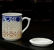 Blue And White And Exquisite Glass Hollow Out Office Tea Cups