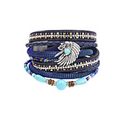 Fashion Women Multi Rows Stone Set Beauty Head Leather Wrap Bracelet