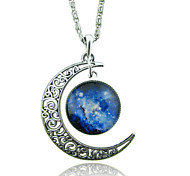 Women's Pendant Necklaces Statement Necklaces Gemstone Glass Alloy Moon Unique Design FashionRed/Blue Red/White White/Blue Blue