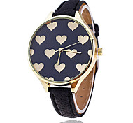 Women/Lady's Full Heart Case Thin Leather Band Analog Quartz Fashion Dress Casual Watch