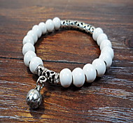 White Ceremic Strand Beads Bracelet