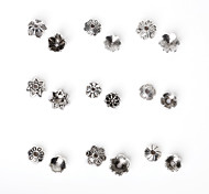 Beadia 325Pcs Mixed 9 Style & Sizes Antique Silver Alloy Beads Cap Metal Flower Spacer Beads