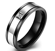 Men's Punk 316L Titanium Steel Antique Retro Black Band Ring Jewelry with Crystal