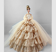 Party/Evening Dresses For Barbie Doll Flaxen Lace Dresses For Girl's Doll Toy