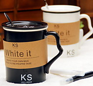 Ceramic Black and White Handwritten Message Couple Cups with Lids Spoon and Pen (Random Color)