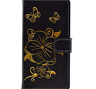 Flower Pattern Bronzing Card Holder PU Leather Material Leather for Huawei P8 P8 Lite
