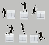 AYA™ Set of 6 DIY Creative Basketball Switch Stickers Wall Decor